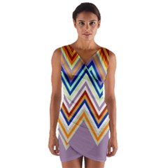 Chevron Wave Color Rainbow Triangle Waves Grey Wrap Front Bodycon Dress