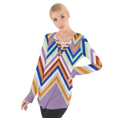Chevron Wave Color Rainbow Triangle Waves Grey Women s Tie Up Tee
