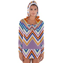 Chevron Wave Color Rainbow Triangle Waves Grey Women s Long Sleeve Hooded T Shirt