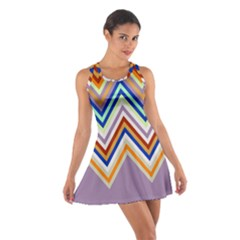 Chevron Wave Color Rainbow Triangle Waves Grey Cotton Racerback Dress