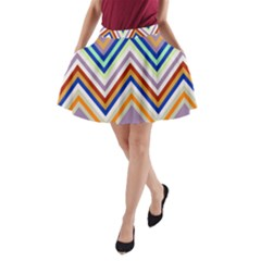 Chevron Wave Color Rainbow Triangle Waves Grey A Line Pocket Skirt
