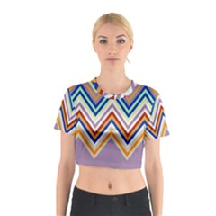 Chevron Wave Color Rainbow Triangle Waves Grey Cotton Crop Top