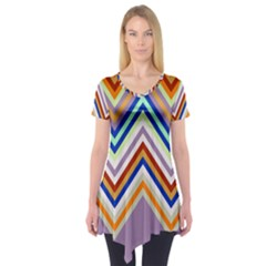 Chevron Wave Color Rainbow Triangle Waves Grey Short Sleeve Tunic