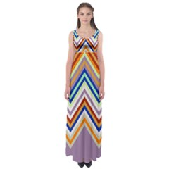 Chevron Wave Color Rainbow Triangle Waves Grey Empire Waist Maxi Dress