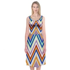 Chevron Wave Color Rainbow Triangle Waves Grey Midi Sleeveless Dress