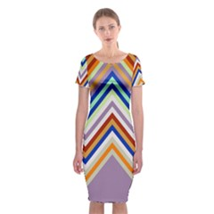 Chevron Wave Color Rainbow Triangle Waves Grey Classic Short Sleeve Midi Dress