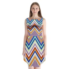 Chevron Wave Color Rainbow Triangle Waves Grey Sleeveless Chiffon Dress