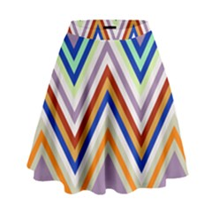 Chevron Wave Color Rainbow Triangle Waves Grey High Waist Skirt