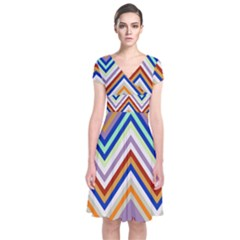 Chevron Wave Color Rainbow Triangle Waves Grey Short Sleeve Front Wrap Dress