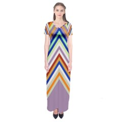 Chevron Wave Color Rainbow Triangle Waves Grey Short Sleeve Maxi Dress