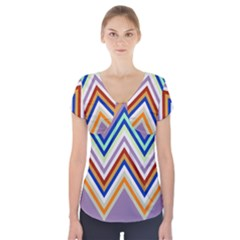 Chevron Wave Color Rainbow Triangle Waves Grey Short Sleeve Front Detail Top