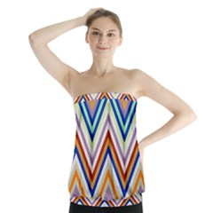 Chevron Wave Color Rainbow Triangle Waves Grey Strapless Top