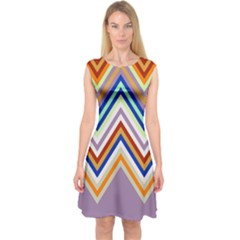 Chevron Wave Color Rainbow Triangle Waves Grey Capsleeve Midi Dress