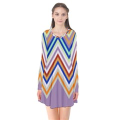 Chevron Wave Color Rainbow Triangle Waves Grey Flare Dress
