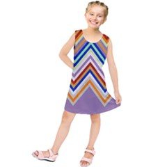 Chevron Wave Color Rainbow Triangle Waves Grey Kids  Tunic Dress