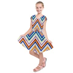 Chevron Wave Color Rainbow Triangle Waves Grey Kids  Short Sleeve Dress