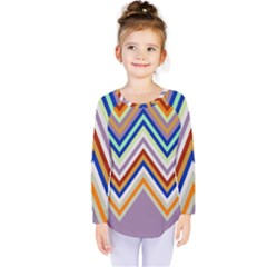 Chevron Wave Color Rainbow Triangle Waves Grey Kids  Long Sleeve Tee