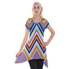 Chevron Wave Color Rainbow Triangle Waves Grey Short Sleeve Side Drop Tunic