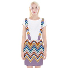 Chevron Wave Color Rainbow Triangle Waves Grey Suspender Skirt