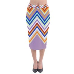 Chevron Wave Color Rainbow Triangle Waves Grey Velvet Midi Pencil Skirt