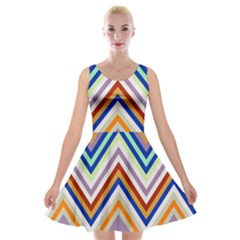 Chevron Wave Color Rainbow Triangle Waves Grey Velvet Skater Dress