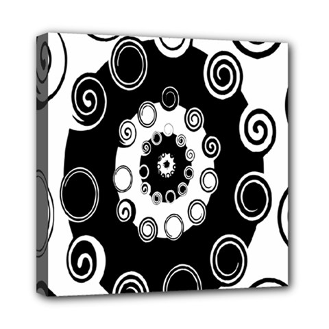 Fluctuation Hole Black White Circle Mini Canvas 8  X 8
