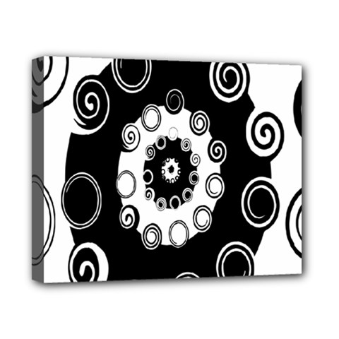 Fluctuation Hole Black White Circle Canvas 10  X 8