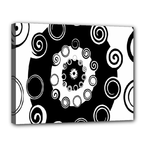 Fluctuation Hole Black White Circle Canvas 14  X 11