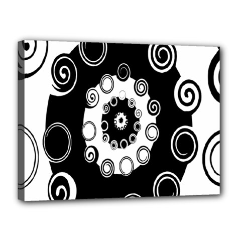 Fluctuation Hole Black White Circle Canvas 16  X 12
