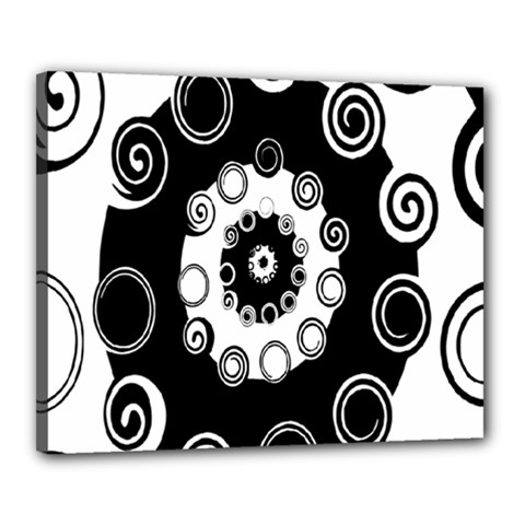 Fluctuation Hole Black White Circle Canvas 20  X 16