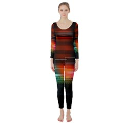 Abstract Binary Long Sleeve Catsuit