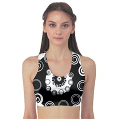 Fluctuation Hole Black White Circle Sports Bra