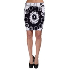 Fluctuation Hole Black White Circle Bodycon Skirt
