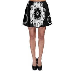 Fluctuation Hole Black White Circle Skater Skirt