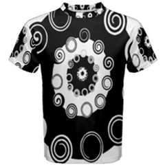 Fluctuation Hole Black White Circle Men s Cotton Tee