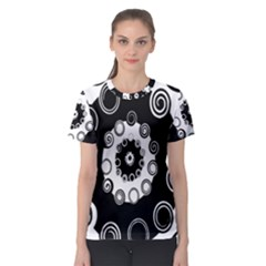 Fluctuation Hole Black White Circle Women s Sport Mesh Tee