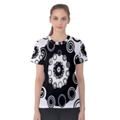 Fluctuation Hole Black White Circle Women s Cotton Tee