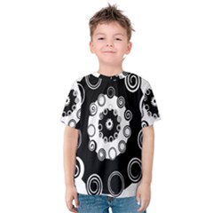 Fluctuation Hole Black White Circle Kids  Cotton Tee