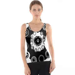 Fluctuation Hole Black White Circle Tank Top