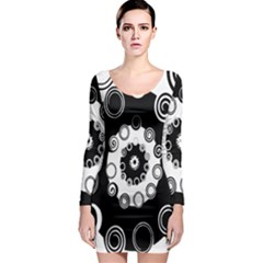 Fluctuation Hole Black White Circle Long Sleeve Bodycon Dress
