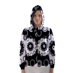 Fluctuation Hole Black White Circle Hooded Wind Breaker (women)
