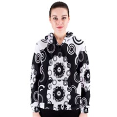 Fluctuation Hole Black White Circle Women s Zipper Hoodie