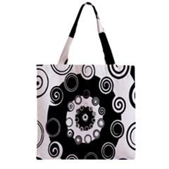 Fluctuation Hole Black White Circle Zipper Grocery Tote Bag