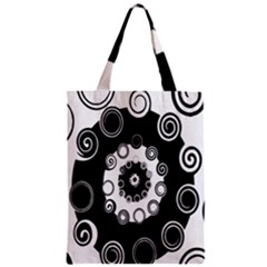 Fluctuation Hole Black White Circle Zipper Classic Tote Bag