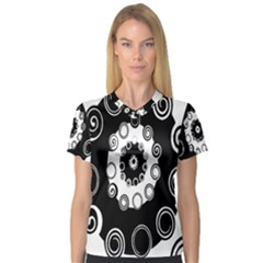 Fluctuation Hole Black White Circle Women s V Neck Sport Mesh Tee