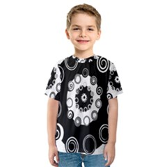 Fluctuation Hole Black White Circle Kids  Sport Mesh Tee