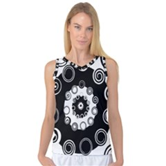 Fluctuation Hole Black White Circle Women s Basketball Tank Top
