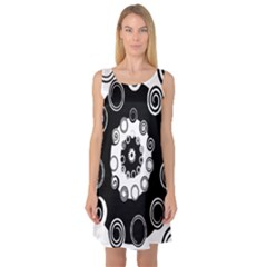 Fluctuation Hole Black White Circle Sleeveless Satin Nightdress