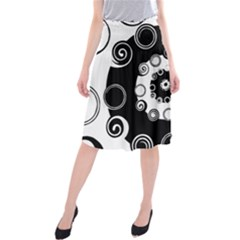 Fluctuation Hole Black White Circle Midi Beach Skirt