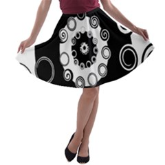 Fluctuation Hole Black White Circle A Line Skater Skirt